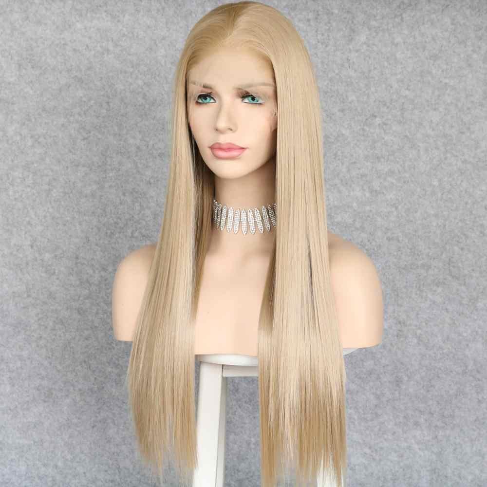 Lvcheryl Zijdeachtige Rechte 13X6 Kant Ash Blonde Kleur Gratis Deel Futura Fiber Hair Hittebestendige Haar Synthetische Kant voor Pruiken