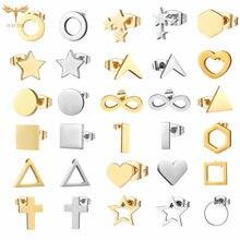 Brincos geométricos clássico aço inoxidável studs jóias para mulher triângulo estrela redonda cruz coração simples brinco piercings bijuterias brinco masculino cruz kpop accessories
