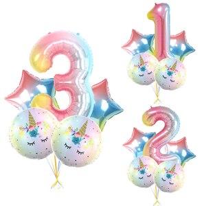 Набор кистей с ручкой в форме единорога, 5 шт. радужных цветов, фольга с цифрами, воздушные шары для детей, вечерние украшения для дня рождени...