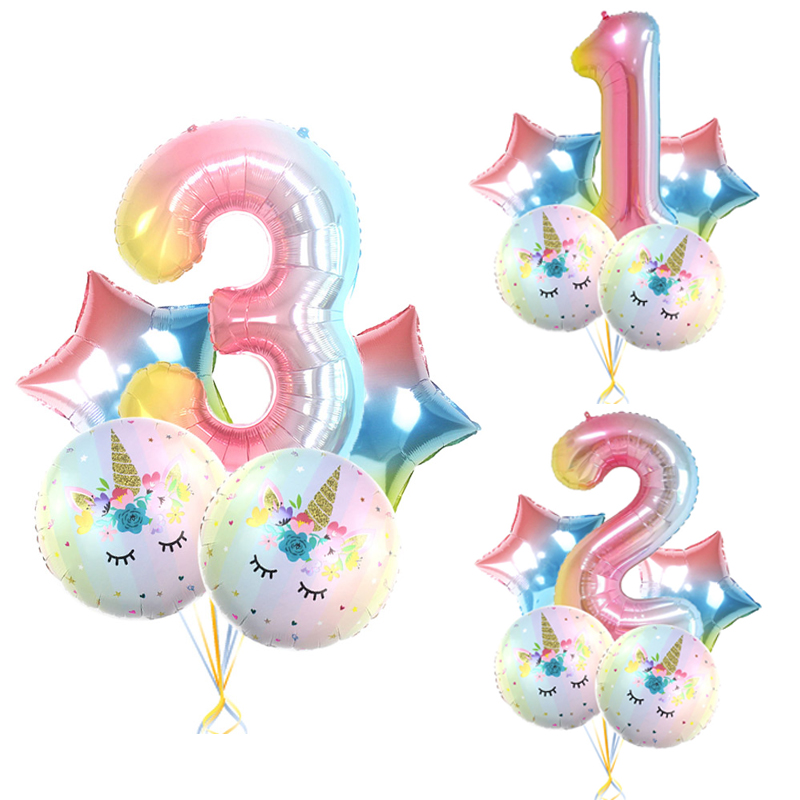 5pcs Rainbow Color Unicorn Set Number Foil Balloons 1 2 3 4 5 Years Old Kids Birthday Party Baby Shower Decorations Cartoon Hat
