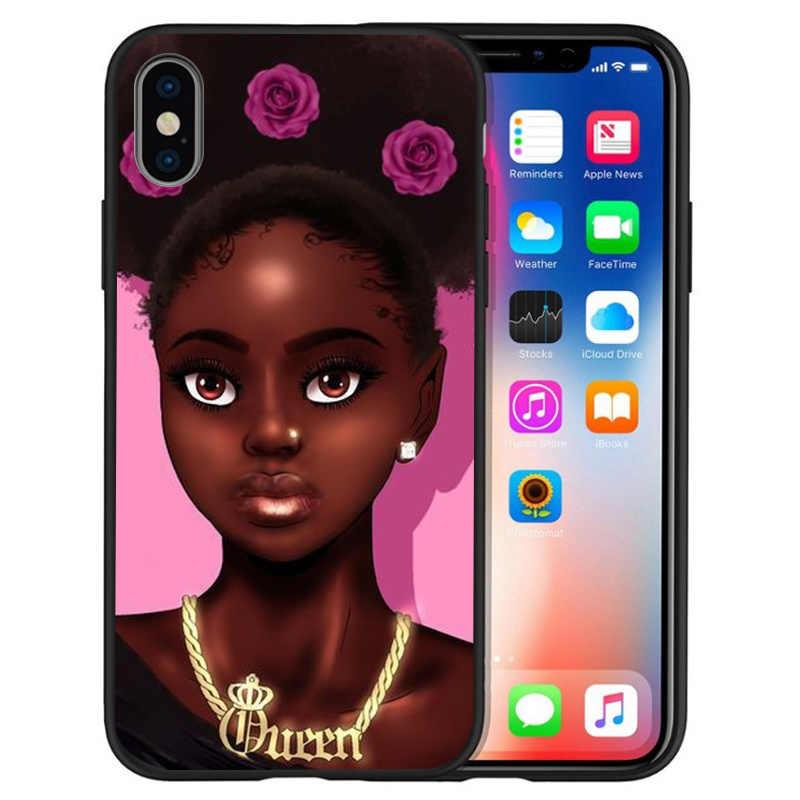 Роскошная африканская красивая девушка принцесса для iPhone X XR XS Max 5 5S SE 6 6S 7 8 Plus чехол для телефона Funda Coque Etui capa