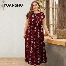 YUANSHU XL 4XL 플러스 사이즈 보헤미안 프린트 롱 드레스 여성 오 넥 하이 웨이스트 오버 사이즈 드레스 홀리데이 파티 대형 드레스