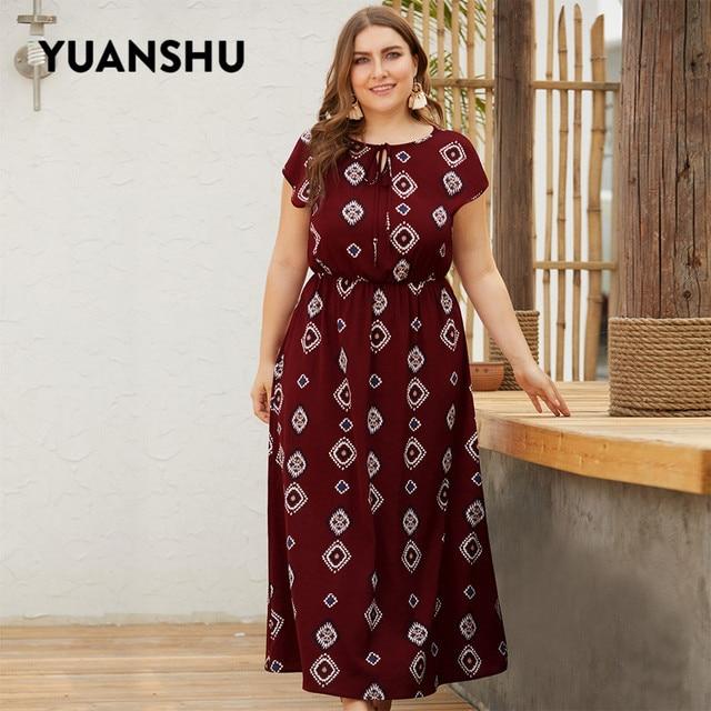 YUANSHU XL 4XL حجم كبير البوهيمي طباعة فستان طويل المرأة س الرقبة عالية الخصر المتضخم فستان حفلة عيد فستان حجم كبير