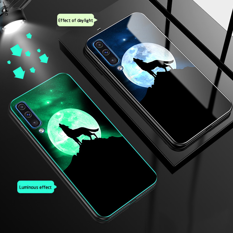 Luminous Glass Phone Case For <font><b>Samsung</b></font> <font><b>Galaxy</b></font> <font><b>A50</b></font> <font><b>a505</b></font> A30 Tempered glass back Cover For <font><b>Samsung</b></font> <font><b>Galaxy</b></font> A30 a305 Night Shine case image
