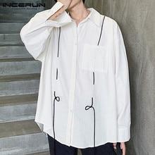INCERUN Men Casual Shirt Turn-down Collar Baggy Pockets 2019 Long Sleeve Korean Style Fashion Brand Shirts Men Streetwear Camisa