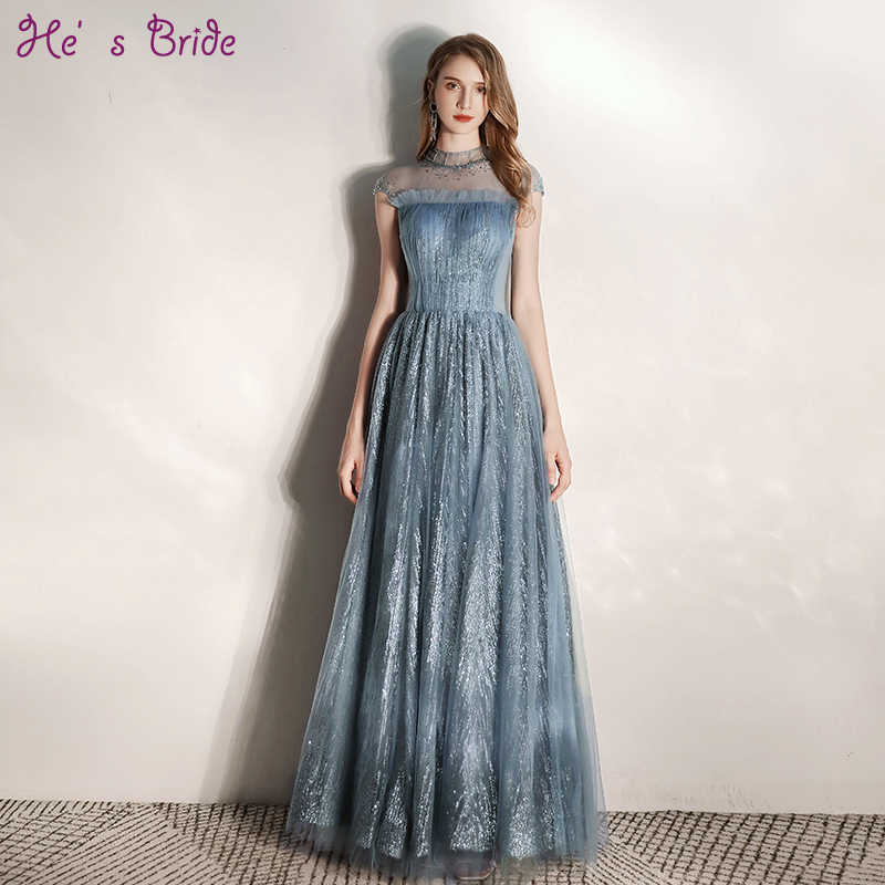 He's Bride New High Neck Short Sleeves Lace Up Back Long Sequined Evening Dresses Custom Evening Gowns Special Occasion Dresses
