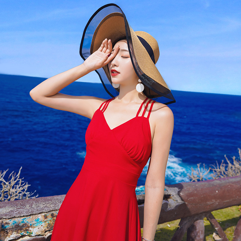 Thailand Seaside Holiday Beach Skirt Medium-length Dress Scheming Holiday Skirt Cross Backless Camisole V-neck Dress Women's Sum