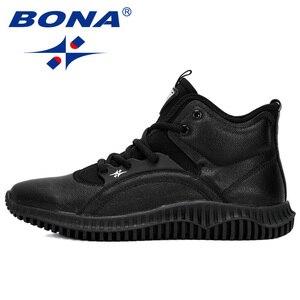 Image 4 - Мужские кроссовки на шнуровке BONA, черные уличные кроссовки с высоким берцем, на плоской подошве, Осень зима 2019