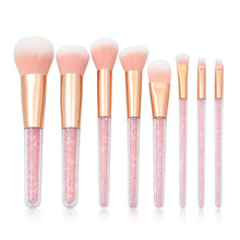 8pcs Crystal Diamond Makeup Brush Set Eyeshadow Concealer Eyebrow Foundation  Cosmetic Beauty Brushes Tools Kit Pincel Maquiagem