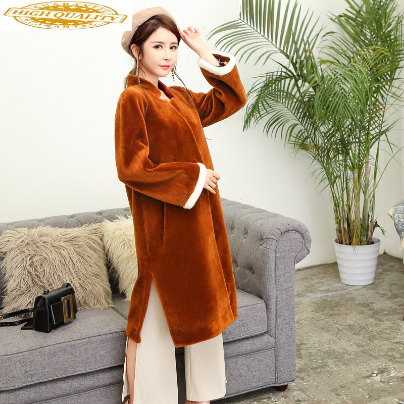 Real Fur Coat Female Sheep Shearing Wool Winter Long Coat Women Clothes 2020 Elegant Women's Jackets Abrigo Mujer KJ996