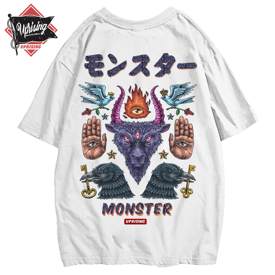 UPRISING Monster short-sleeved street fashion brand personality joint hip-hop motorcycle T-shirt popular FREE SHIPPING