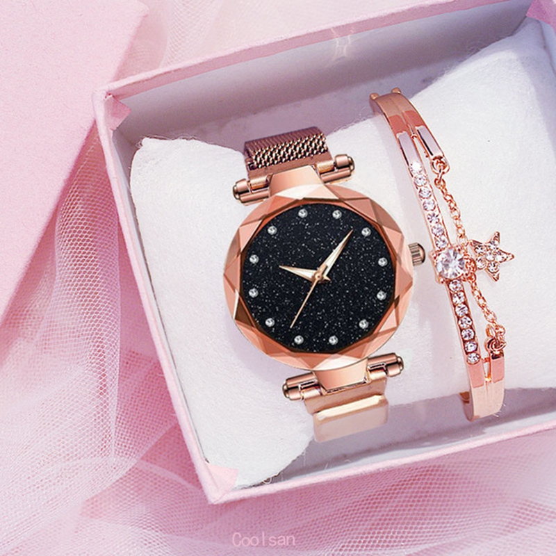 Luxury 2pcs Women Watches Bracelet Set Fashion Elegant Magnet Buckle Ladies Starry Sky Watch Set Relogio Feminino Dropshipping