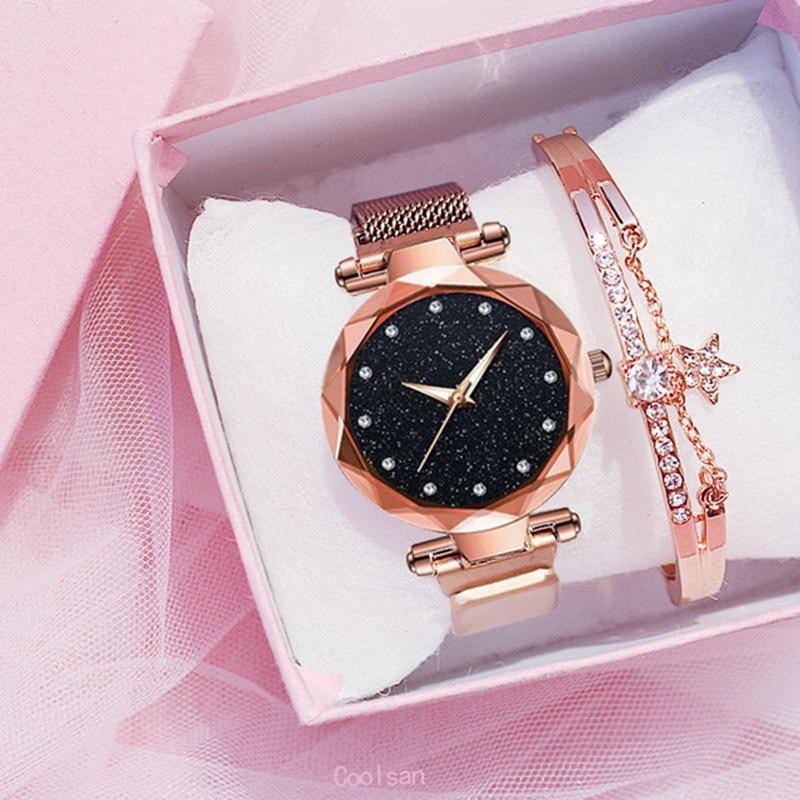 Luxury 2pcs Women Watches Bracelet Set Fashion Elegant Magnet Buckle Ladies Starry Sky Watch Set Relogio Feminino Dropshipping