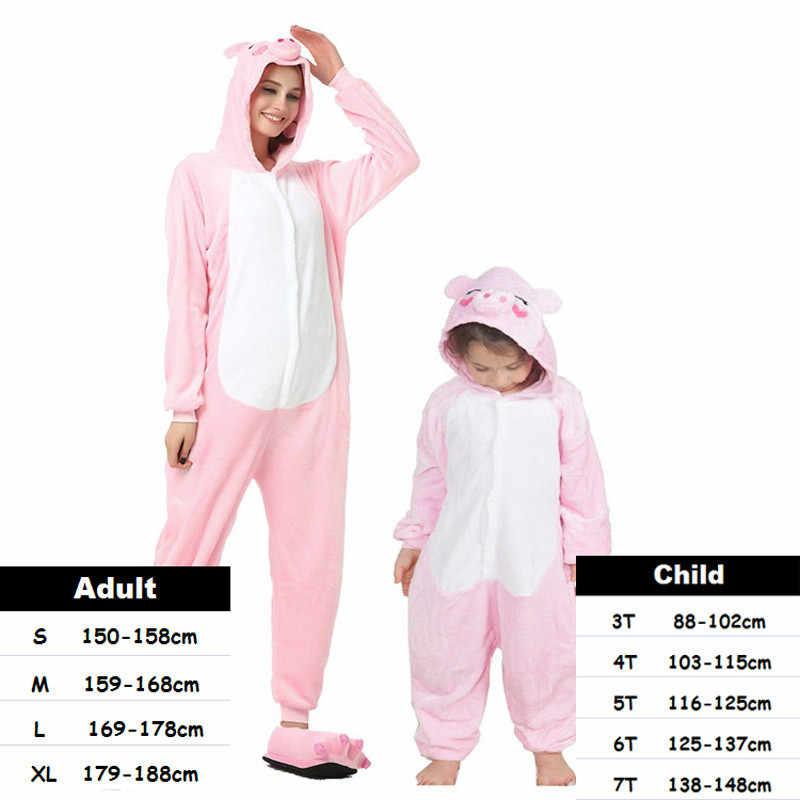 Niños adultos mujeres Kigurumi unicornio pijamas Animal Anime Cosplay disfraz Onepiece niños niñas bebé mono Halloween Onesie