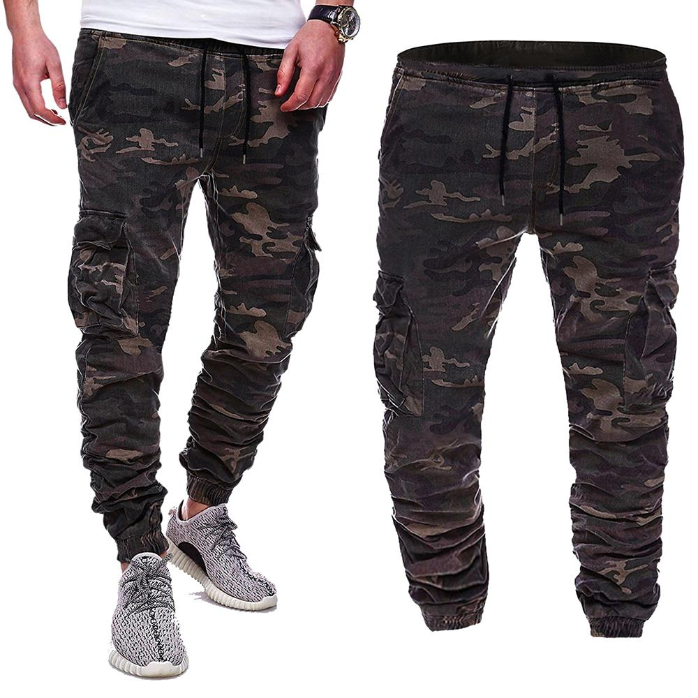 Sports Fitness Men Pants Joggers Slim Fit Cargo for Camouflage Trousers Sweats New