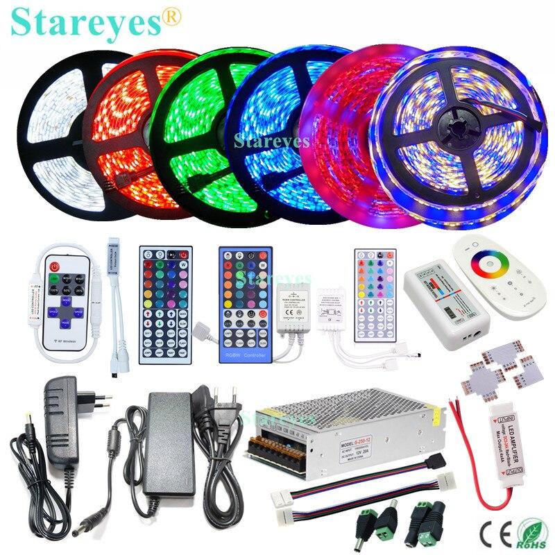 Atacado 2835 SMD 3528 5050 5630 LED strip IP20 IP65 IP67 IP68 fornecimento adaptador de energia À Prova D Água IR RF Wifi Controle Remoto