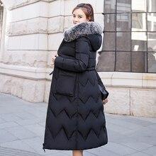 2019 Mulheres Casaco de Inverno Feminino Jaqueta de Ambos Os Lados Pode Ser Usado Longo Parka Gola de Pele Com Capuz Acolchoado Grosso Magro Casacos