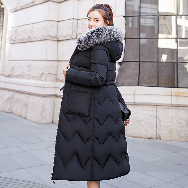 2019 Women Winter Coat Female Both Sides Can Be Worn Jacket Long   Parka   Hooded Fur Collar Padded Thick Slim Jackets