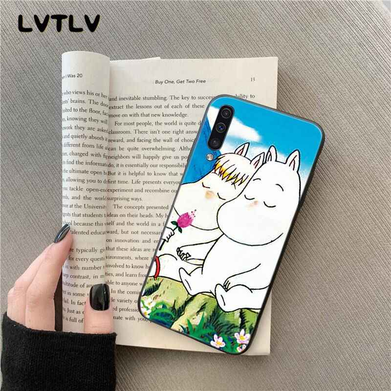 Lvtlv dos desenhos animados bonito moomin hipopótamo caso do telefone para samsung galaxy a7 a50 a70 a40 a20 a30 a8 a6 mais a9
