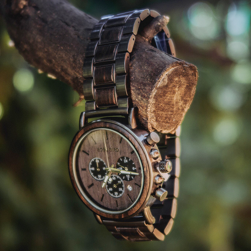 BOBO BIRD P09 Wood and Stainless Steel Watches Mens Chronograph Wristwatches Luminous Hands Stop Watch dropshipping 5
