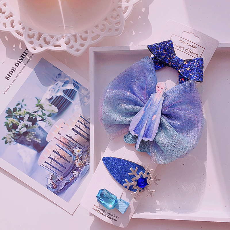 Frozen 2 Children Hair Clip Princess Elsa Lovely Hairpin Bow Cosplay Birthday Gift Little Girl Kids Hair Accessories Photo Prop