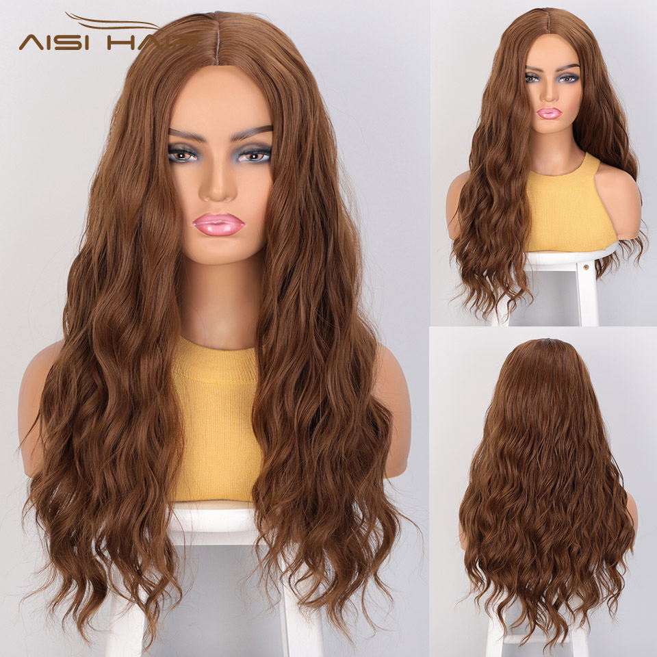 I's A Wig Water Wave Synthetic Wigs Long Wigs For Women Brown Cosplay Wigs Middle Part Nature Heat Resistant Hair