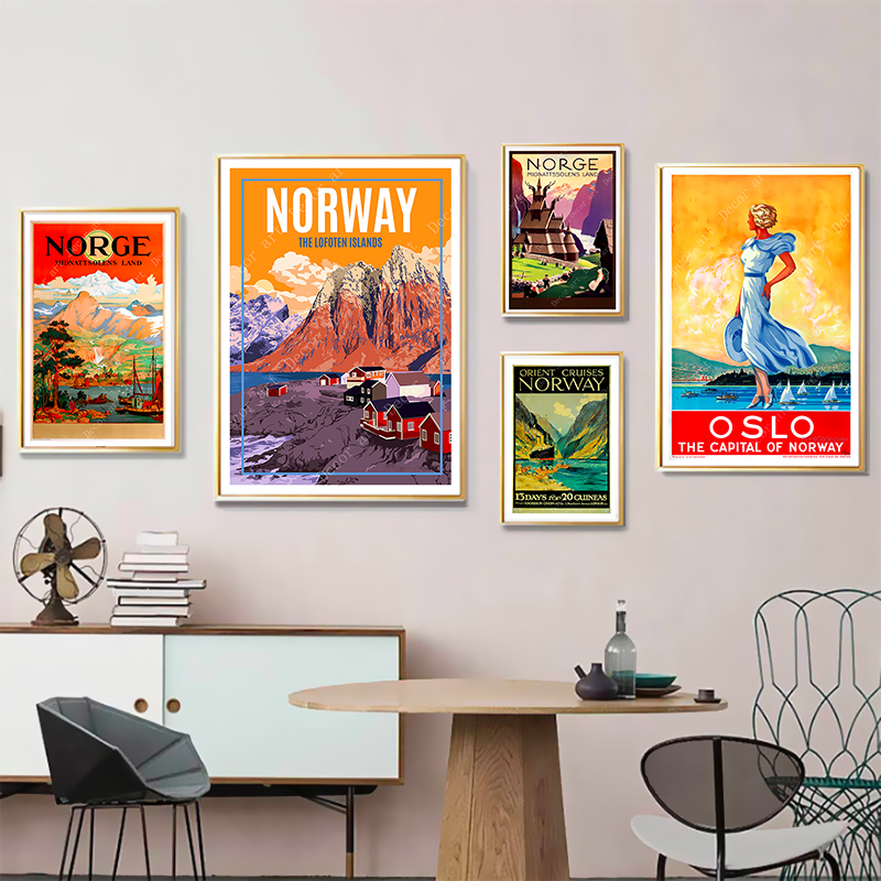 Norway Oslo Norge Fjords Map Vintage Retro Travel Classic Canvas Paintings Kraft Posters Wall Stickers Home Decor Family Gift