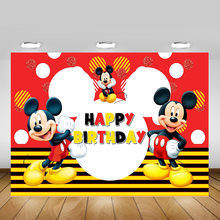 Photography Backdrop Mickey Mouse Birthday Party Dessert Table Background for Children Photo Studio Photocall Supplies Props(China)