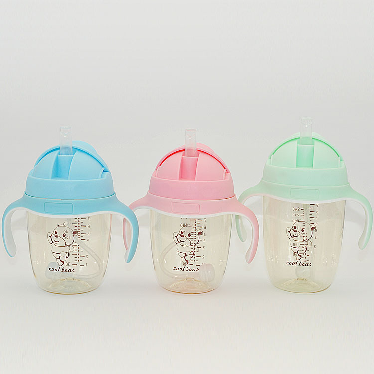 Cool Zi Bear CHILDREN'S Cups PPSU Infant Sippy Cup Training Cup Leak-Proof Anti-Colic Cup With Straw