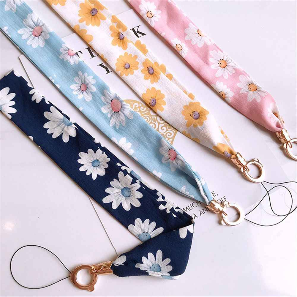 Fashion Chiffon Neck Lanyard Lattice Wide Strap Keychain for Key ID Card Gym Mobile Phone Straps USB Badge Holder DIY Hang Rope