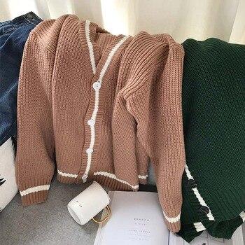 мужские кардиганы из шерсти | Осенне-зимний мужской свитер пальто шерстяные кардиган свитера пальто мужской корейский стиль свободная пара Повседневный трикотаж зелен...