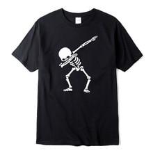 100% cotton High quality for men short sleeve dabbing print skull men T shirt casual o-neck summer mens tee shirts o-neck tshirt