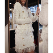 HIGH STREET Newest 2020 Fall Winter Baroque Designer Jacket Womens Lion Buttons Tassel Wool Blend Tweed Jacket Coat