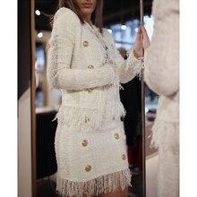 HIGH STREET Novo 2019 Outono Inverno Barroco Jaqueta Designer de Leão das Mulheres Botões Borla Tweed De Lã Mistura do Revestimento do Revestimento