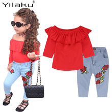 Yilaku Baby Girl Clothes Fall Girls Clothes Sets 2 Pcs Tops + Jeans Off Shoulder Kid Clothes Suit Children's Clothing Sets YY059 cheap Fashion O-Neck Pullover COTTON Full REGULAR Fits true to size take your normal size Shorts Solid
