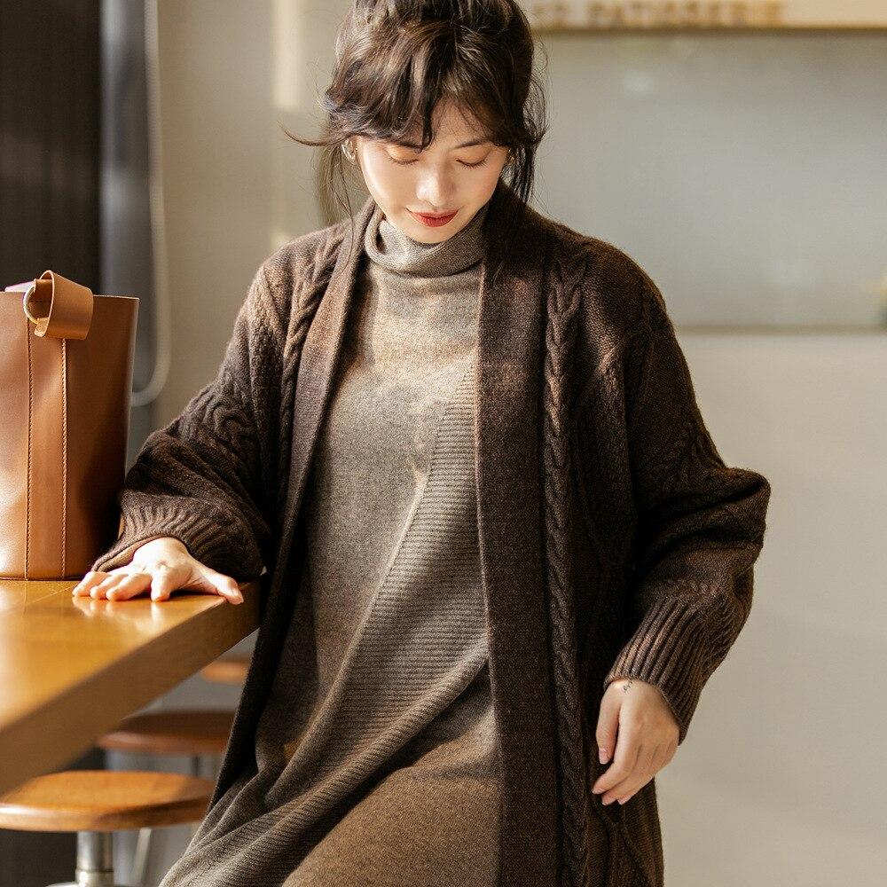 Morihiro 2019 automne et hiver nouveau Yak laine lâche Base demi-tortue-cou pull robe pull femmes 3117
