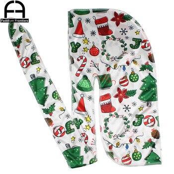 Christmas Silk Durag Bandanas For Men Silky Durags Wave Cap Headwrap Hair Accessories Long Tail