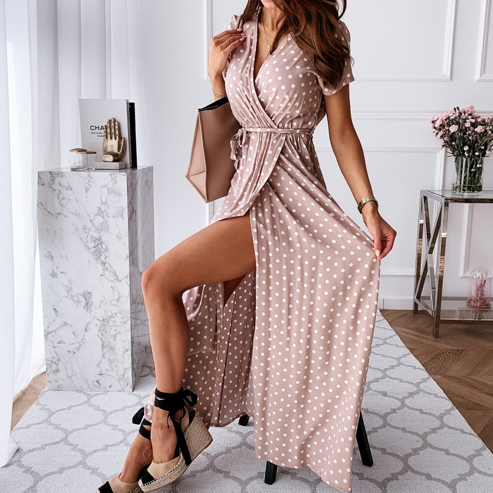 Polka Dot Women's Dress V-neck Summer Wrap Dresses For Women Casual Front Split Female Long Dress Office Ladies Vestidos D25