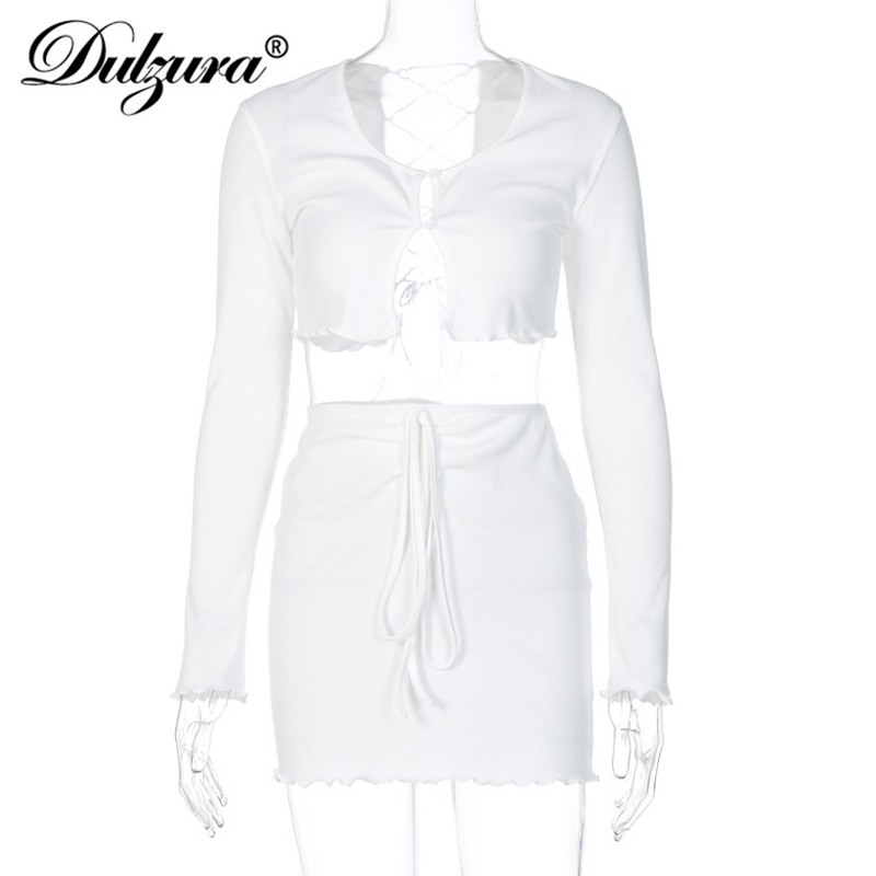 Dulzura ribbed lace up hollow out women 2 piece set crop top cardigan mini skirt bodycon sexy streetwear club matching outfit