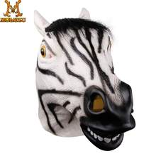 Molezu Halloween Cute Realistic Zebra Latex Mask Adult Full Face Latex Mask Halloween Masquerade Cosplay Party Mask(China)