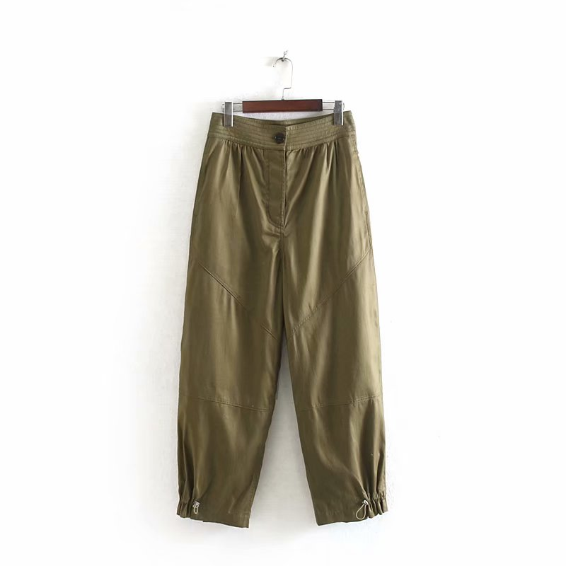 Safari style Women high wasit pocket patch casual   wide     leg     pants   autumn ladies fashion buttons chic leisure Trousers P577