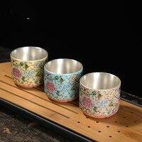 Jingdezhen enamel ceramic tea cup sketch cup silver cup sterling silver 999 kung fu tea cup master cup single cup|Tea Tureen| |  -
