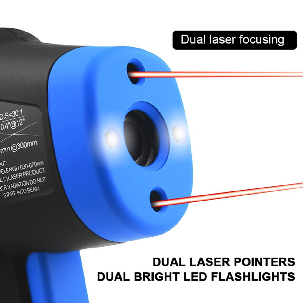Holdpeak HP-1320 thermomètre Laser double numérique sans Contact écran LCD IR infrarouge numérique C/F sélection pyromètre - 3