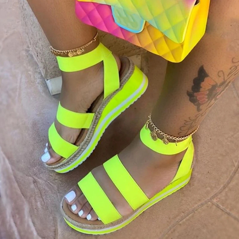 Ladies Hemp Shoes Casual Summer Sandal's Women Slip On Strap Cross Cool Girls Wedges Platform Candy Color Plus Size 2020 Open PU