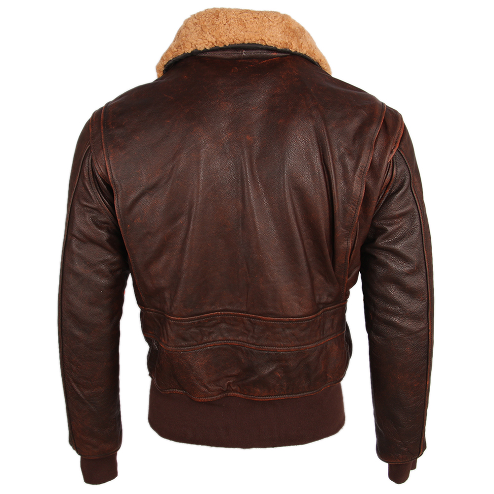 Hff69678d8eb3405c9aca93b3ed417d43i Vintage Distressed Men Leather Jacket Quilted Fur Collar 100% Calfskin Flight Jacket Men's Leather Jacket Man Winter Coat M253