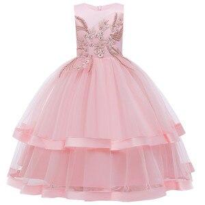 Meninas do bebê roupas de natal adolescentes longo formal rendas bordado vestido de princesa para a menina elegante festa de aniversário vestido da menina