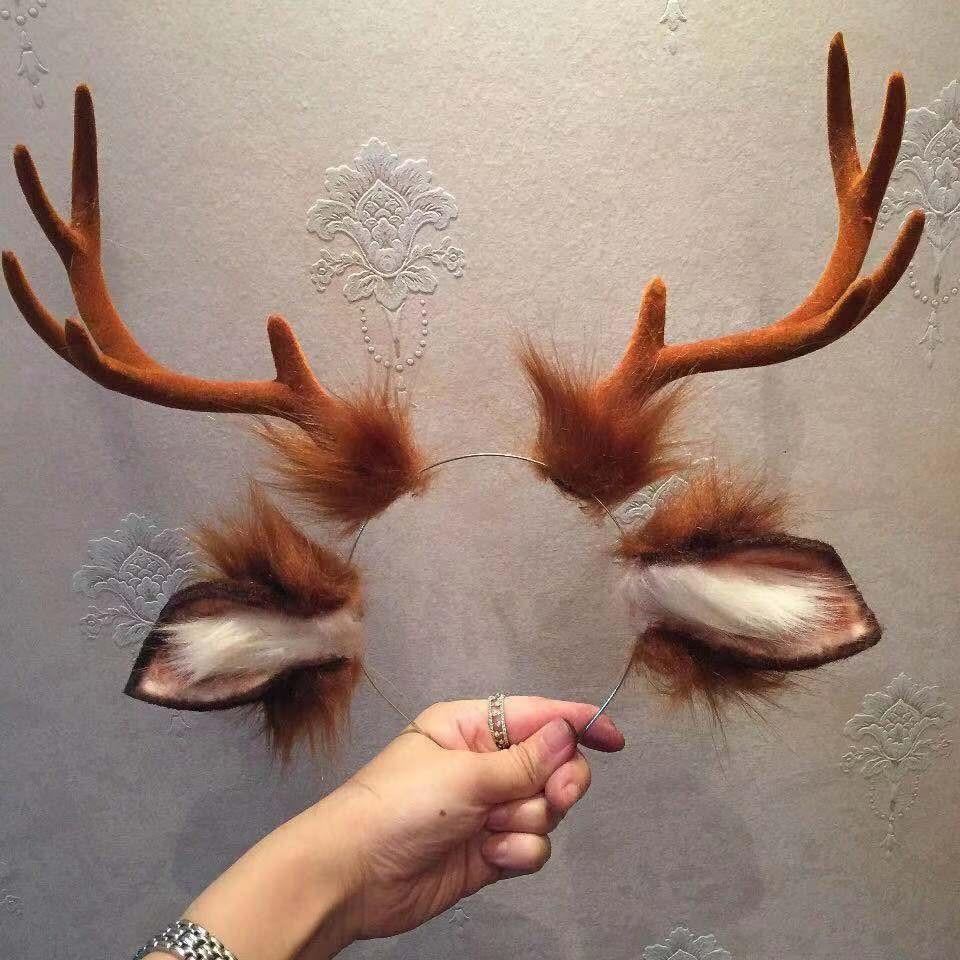 New Rabbit Kingdom Cosplay Carnaval Gothic Lolita Acessories Fox Ear Hair Hoop Headwear For Girl Women Kids Hand Work