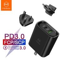 Mcdodo 3 in 1 eu 미국 영국 플러그 어댑터 macbook iphone 용 30 w pd usb 충전기 삼성 afc xiaomi huawei scp/fcp 5a 초고속 충전
