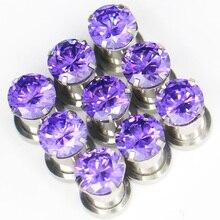 2Pcs Stainless Steel Top Quality Purple Zircon Ear Tunnels Plug Screw Fit Flesh Gauge Expanders Jewelry