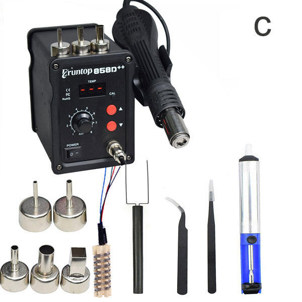 Black 700W 858D ESD Soldering Station LED Digital SMD Solder Blowser Hot Air Gun Upgraded from